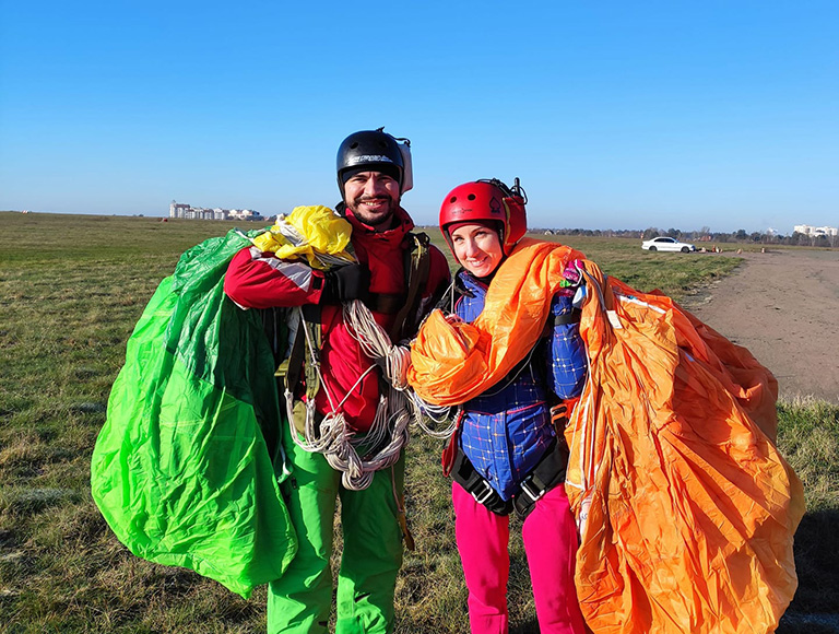 Зимний сезон прыжков с парашютом